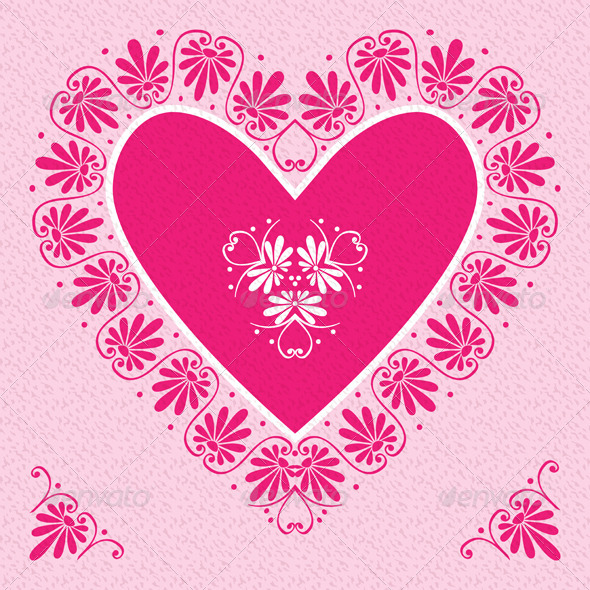 GraphicRiver Valentine s Day Card with Pink Heart 6672169