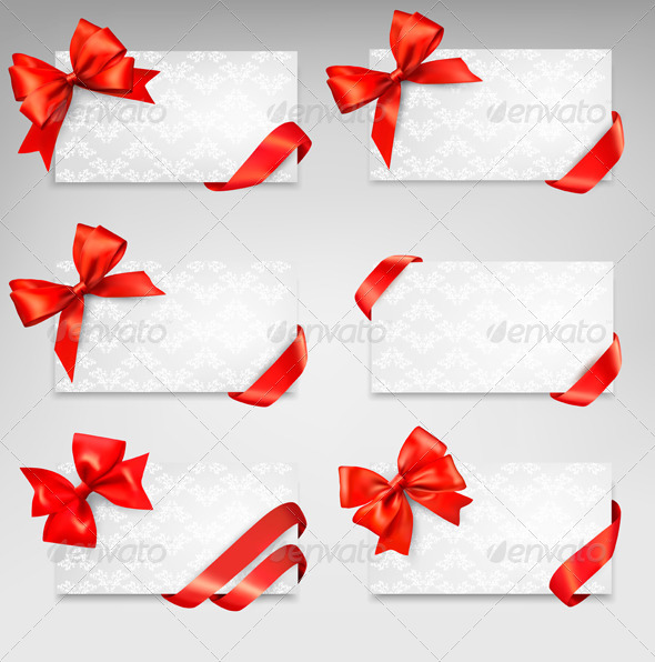 GraphicRiver Collection of Gift Cards with Red Ribbons 6674396