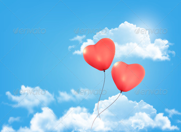 GraphicRiver Valentine Heart-Shaped Balloon in a Blue Sky 6674416