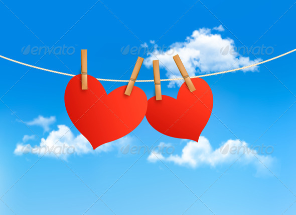 GraphicRiver Two Hearts Hanging on a Rope in Front of a Sky 6674417