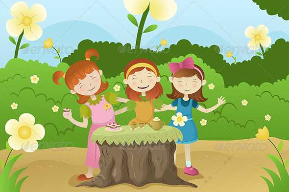 GraphicRiver Girls Having a Garden Party 6674822