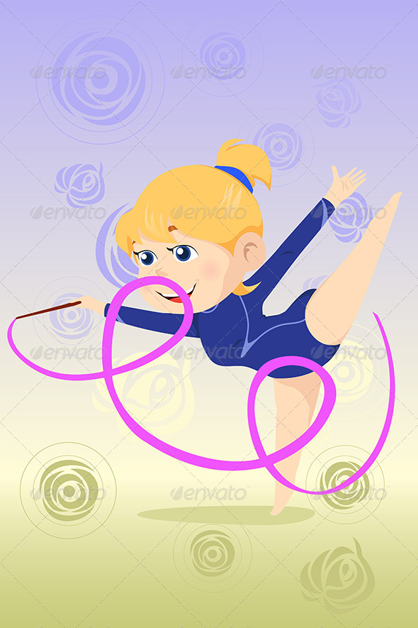 GraphicRiver Kid Doing Gymnastics Dance 6676228