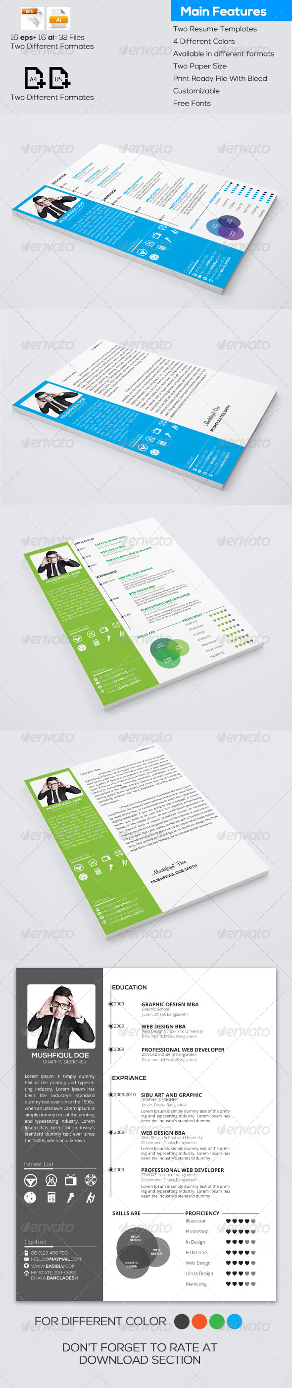 GraphicRiver Resume and Cover Letter 6677744