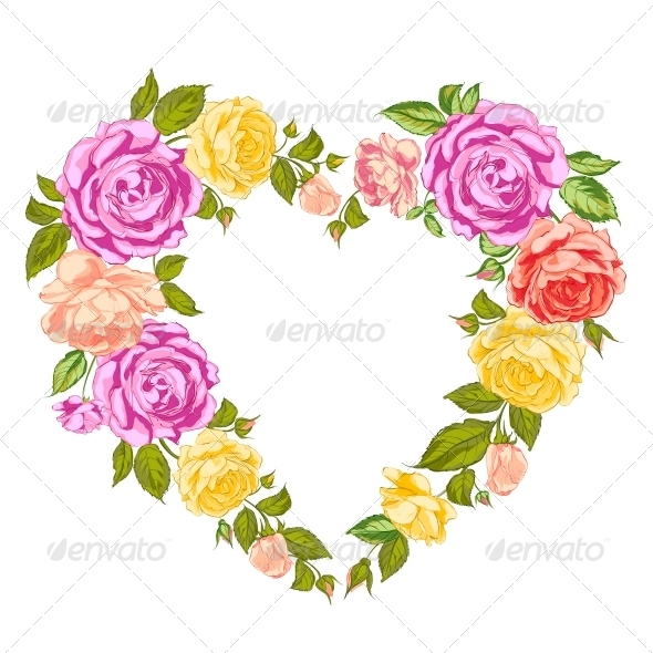 GraphicRiver Roses Heart Frame 6679756
