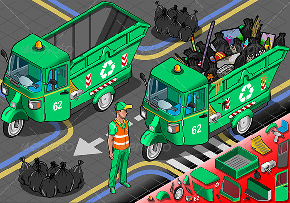 GraphicRiver Isometric Garbage Rickshaw in Front View 6679799