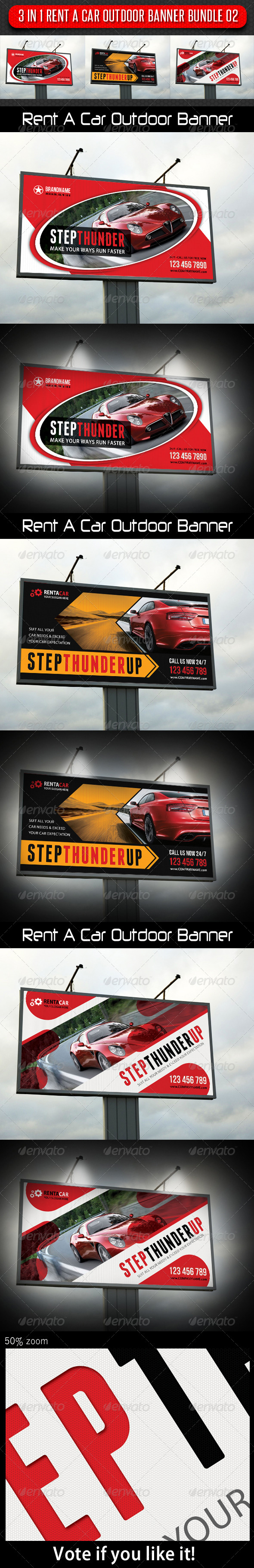GraphicRiver 3 in 1 Rent A Car Outdoor Banner Bundle 02 6680571