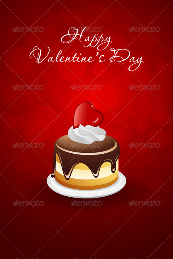 GraphicRiver Valentines Day Card with Cake and Red Heart 6680691