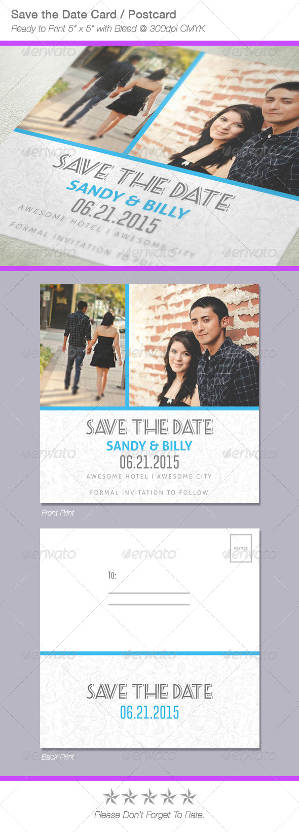 GraphicRiver Fresh Save The Date Postcard Card 6680734