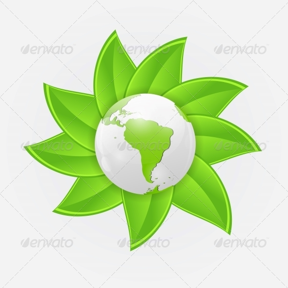 GraphicRiver Green Eco Planet Concept Vector Illustration 6681100