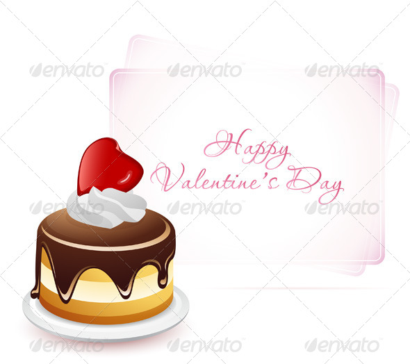 GraphicRiver Happy Valentine s Day Card with Cake 6681120