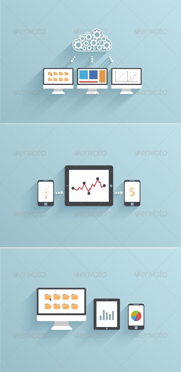 GraphicRiver Vector Modern Flat Backgrounds with Long Shadows 6681326