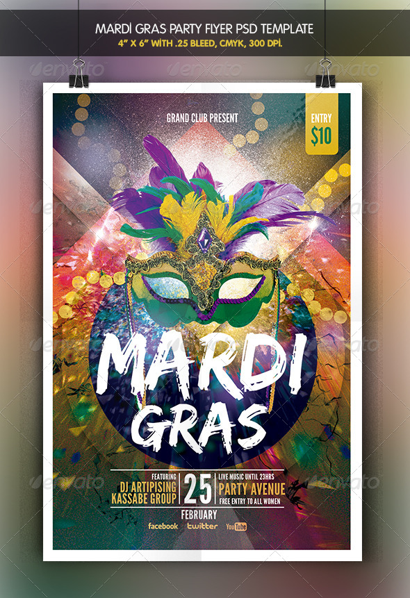 GraphicRiver Mardi Grass Party Flyer 6681451