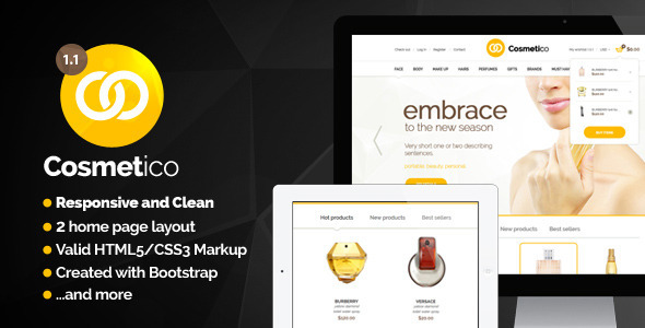 Cosmetico - Modern Beauty Shop Template - Shopping Retail