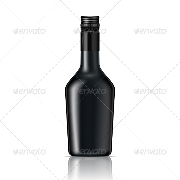 GraphicRiver Black Glass Liqueur Bottle with Screw Cap 6682660