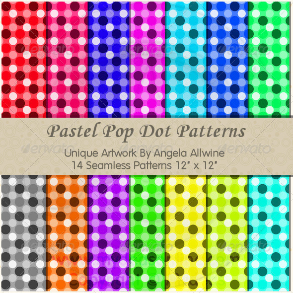 GraphicRiver Pastel Pop Dots Pattern Set 6685177