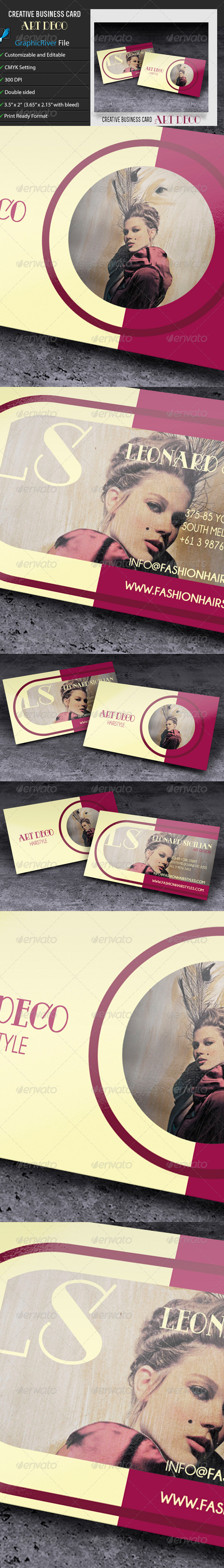 GraphicRiver Business Card ArtDeco Hairstyle 6685323