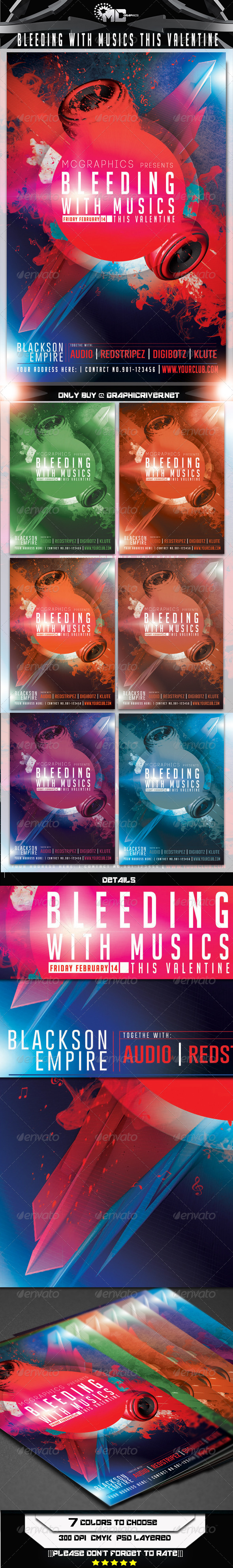 GraphicRiver Bleeding with Musics this Valentine Flyer Template 6685590