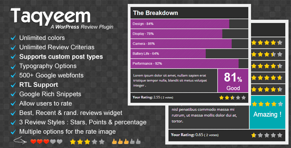 Taqyeem - WordPress Review Plugin - CodeCanyon Item for Sale