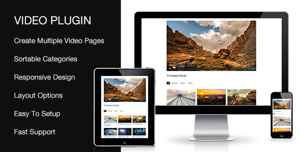 Sortable Video Plugin Plugin Features Embed YouTube, Vimeo, Blip.tv, Viddler, Kickstarter Videos Create multiple Video Pages Sortable Isotope Thumbnails Create