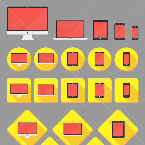 GraphicRiver Flat Devices Icons 6694713