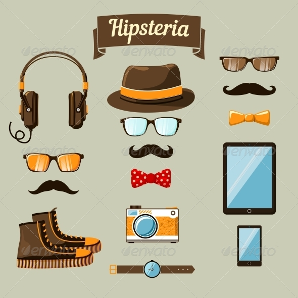GraphicRiver Hipster Devices Icons Set 6695581