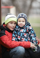 Two adorable young brothers outdoors in winter - PhotoDune Item for Sale