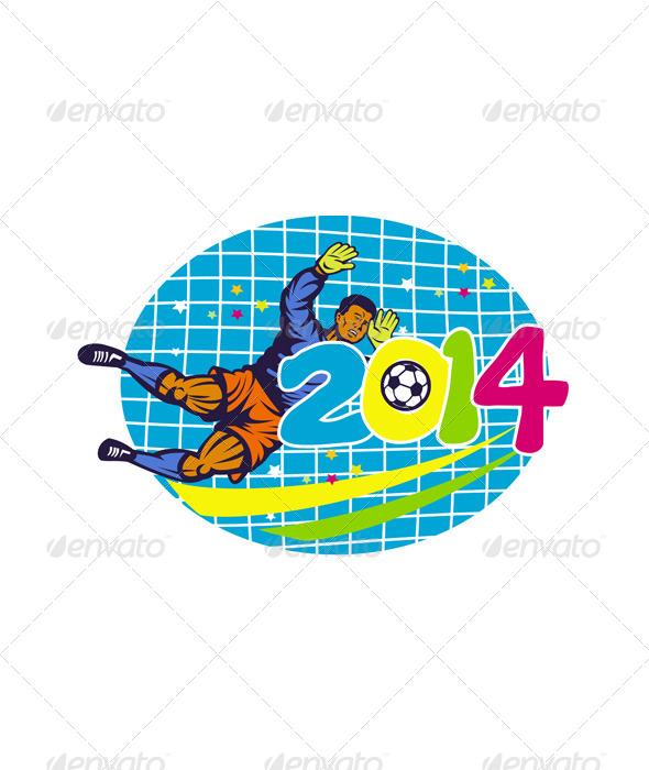 GraphicRiver Goalie Football Player Retro 6697965