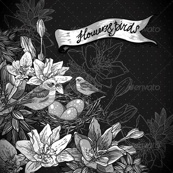 GraphicRiver Floral Background with Birds 6699905