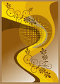 Yellow Banner with Yellow Curves and Flowers.  - PhotoDune Item for Sale