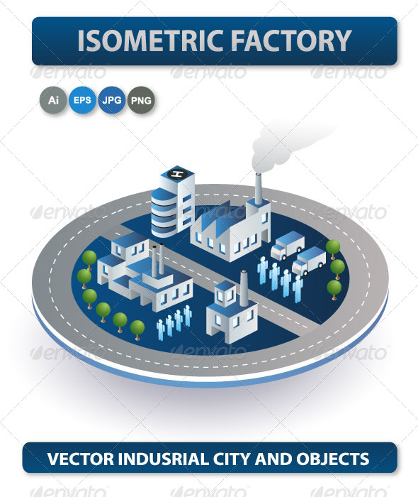 GraphicRiver Vector Isometric Factory 6702463