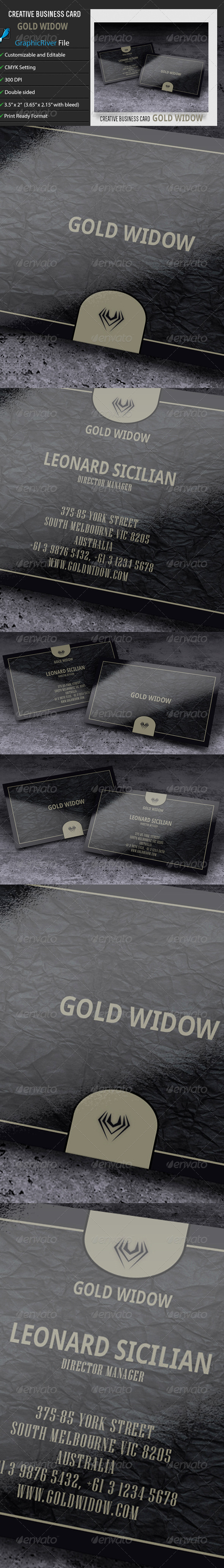 GraphicRiver Creative Business Card Gold Widow 6703847