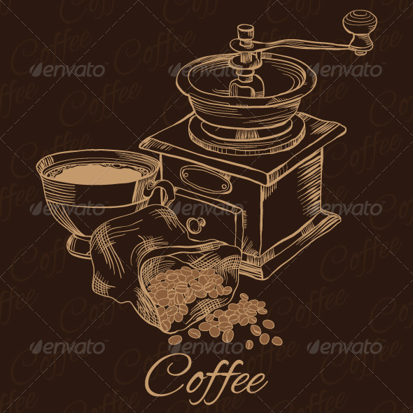 GraphicRiver Coffee Grinder with Cup of Coffee and Beans 6704898