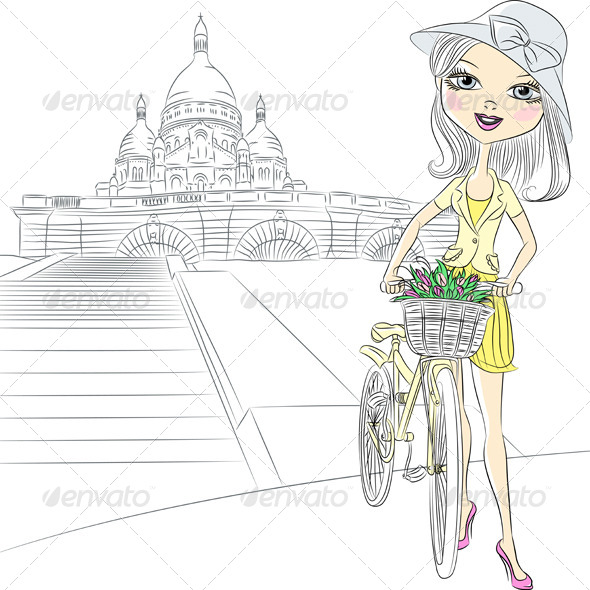 GraphicRiver Girl with Flowers in Paris 6705025