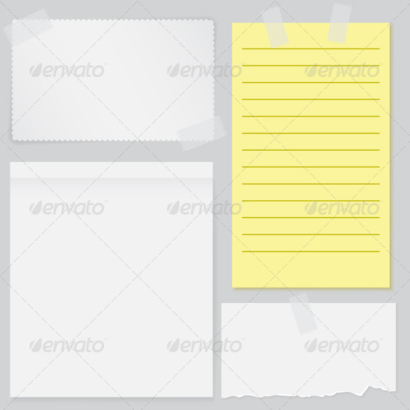 GraphicRiver Set of Four Notes Papers 6705041