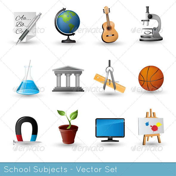 GraphicRiver School Subjects Icon Set 6705240