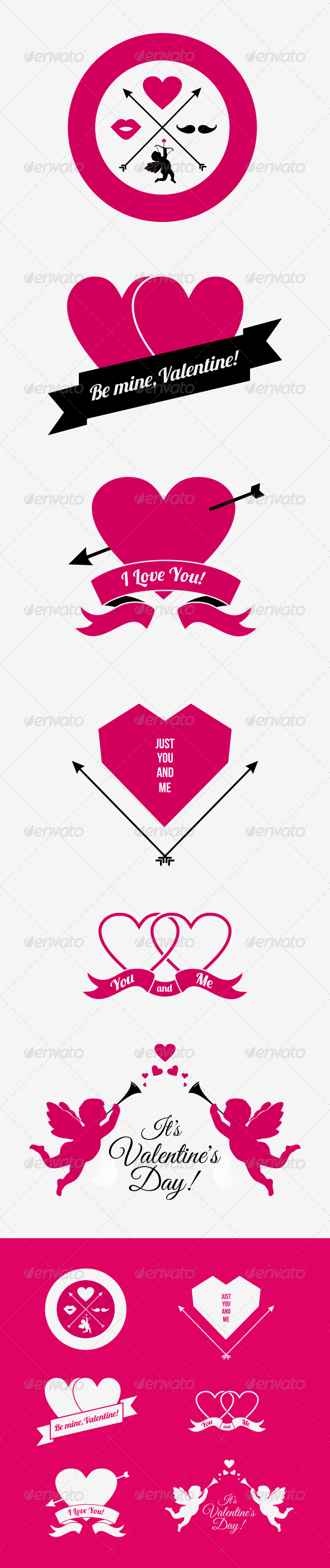GraphicRiver Hipster Valentine Badges and Icons 6706304