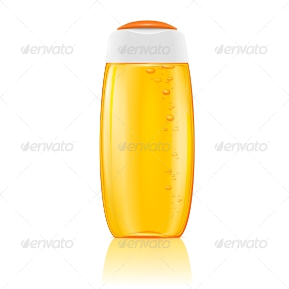 GraphicRiver Yellow Shampoo Bottle with Bubbles 6706787