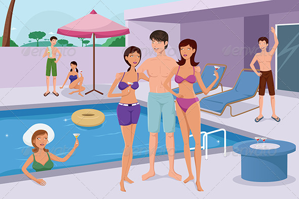 GraphicRiver Young People Having a Pool Party 6709103