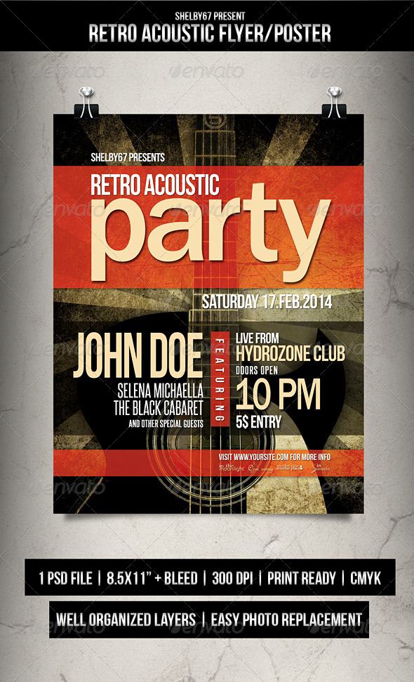 GraphicRiver Retro Acoustic Flyer Poster 6709194