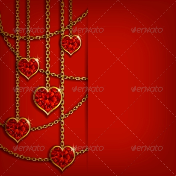 GraphicRiver Hearts on Chains Valentine s Day Background 6710320