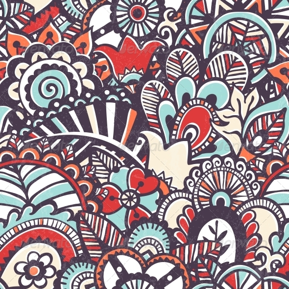 GraphicRiver Doodle Seamless Print Floral Background 6711837