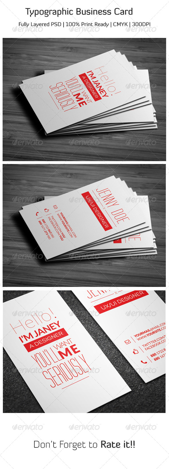 GraphicRiver Typographic Business Card 6712617