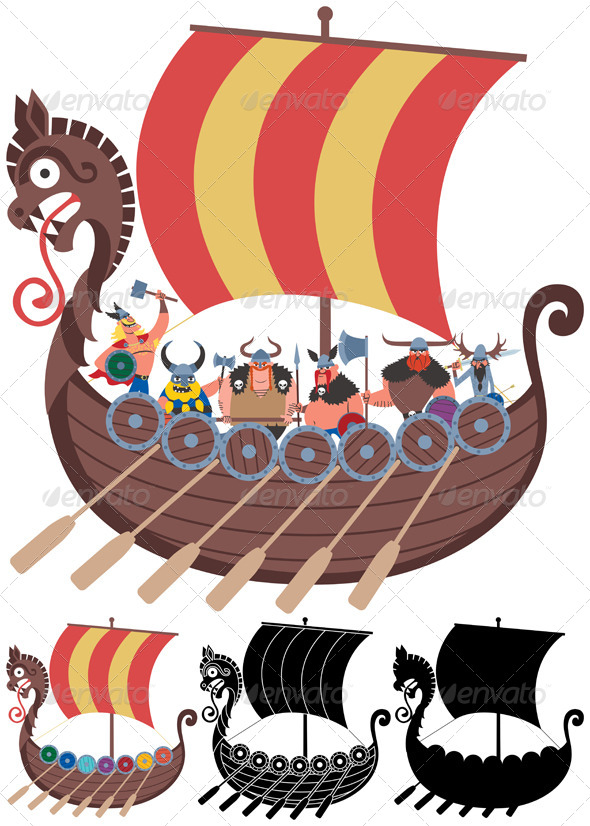 GraphicRiver Viking Ship on White 6712739
