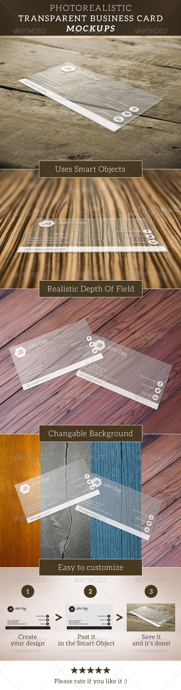 GraphicRiver Transparent Business Card Mockup 6713987