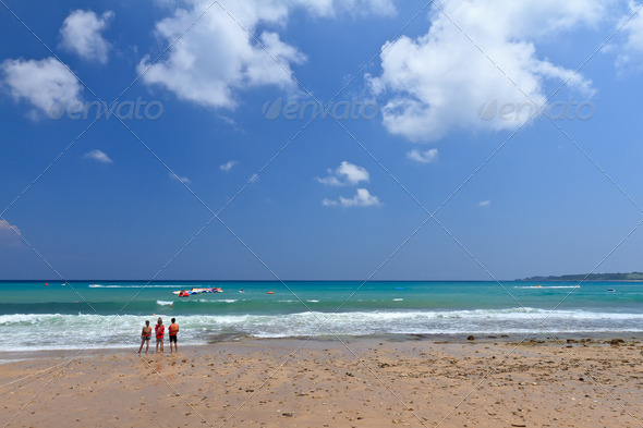 People by the beach - Stock Photo - Images