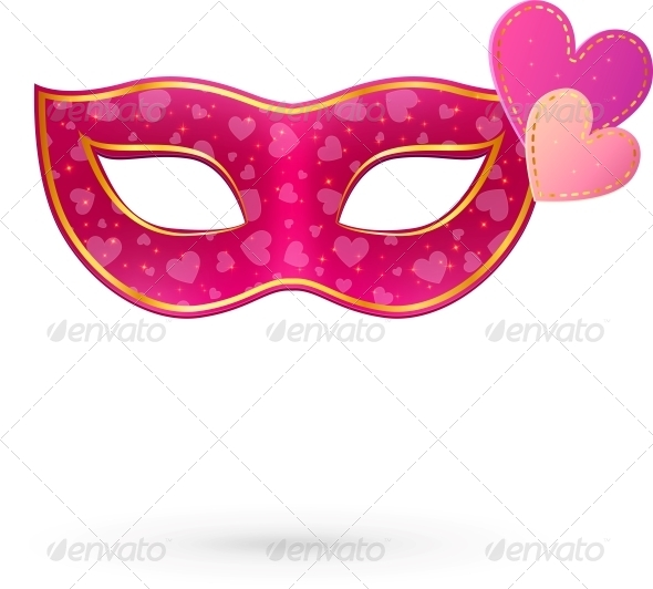 GraphicRiver Pink Carnival Mask with Hearts 6714177