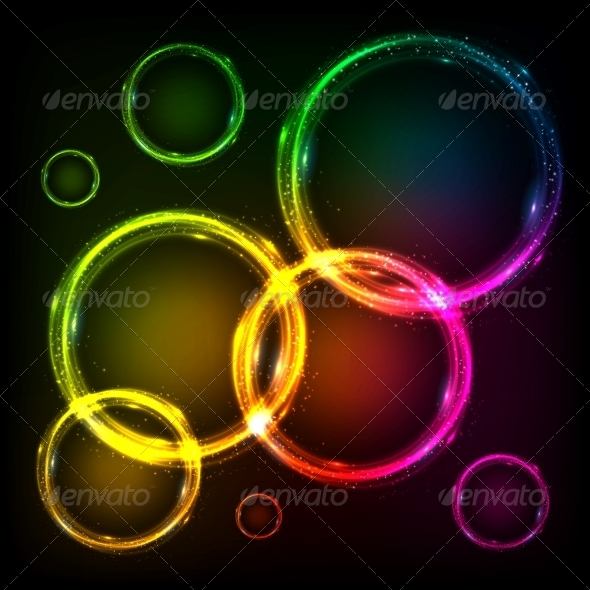 GraphicRiver Colorful Neon Circles Abstract Frames Background 6714538
