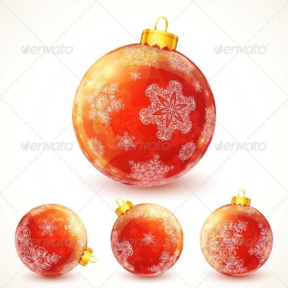 GraphicRiver Red Ornate Shining Christmas Balls Set 6715094