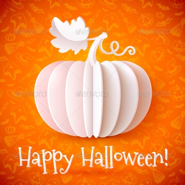 GraphicRiver Bright Halloween White Paper Pumpkin 6715171
