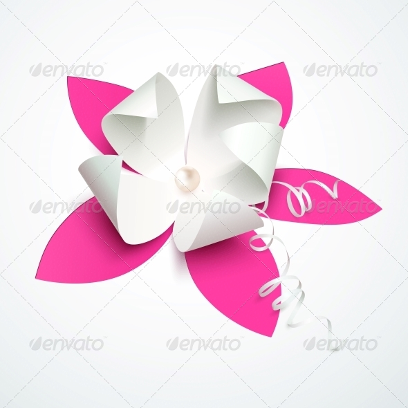 GraphicRiver Pink Cutout Paper Flower with Pearl 6715240